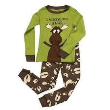 lazy one children pj pajamas sleepwear toddler green brown