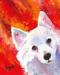 american eskimo dog blue eyes original antique oil painting on canvas portrait of a american