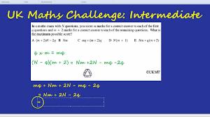 Challenge Uk Uk Maths Challenge Intermediate Algebraic Multiplication