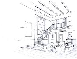 one point perspective interior drawing mimari pinterest
