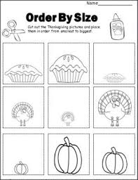 thanksgiving order by size activity cut and paste the pictures in