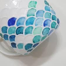 scaled hand painted mermaid plant pot mug design u0026 craft
