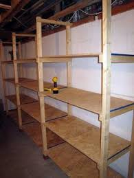 Simple Wood Storage Shelf Plans by This Looks Like Our Storage Room Except I Like The Idea Of