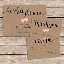rustic bridal shower invitations rustic bridal shower invitation thank you card and recipe