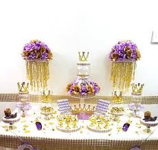 Baby Shower Candy Buffet Pictures by Lavender And Gold Baby Shower Candy Buffet Centerpiece With