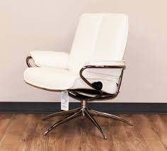Leather And Chrome Chairs Stressless City Low Back Batick Snow Chrome Base Leather Recliner