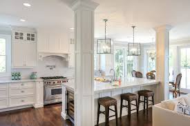 kitchen islands with posts denver kitchen island stove traditional with recessed lights