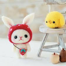 diy needle wool felt rabbit and kit japanese craft kit
