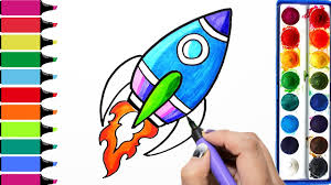 draw color paint rocket coloring pages and learn colors for kids