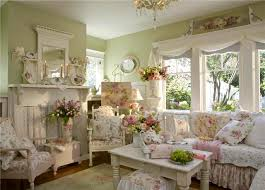 shabby chic english cottage living room pretty green wall color