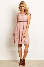 sleeve lace knee length short maternity dresses with belt