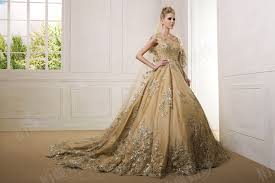 gold wedding dresses luxury gold gown lace applique wedding dress 2017 real