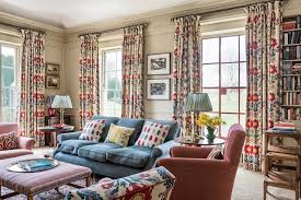 Home Library Design Uk Pattern Fabric Library Living Room Design Ideas Houseandgarden