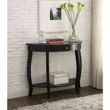 half moon console table with drawer yvonne half moon console table with drawer in antique black free
