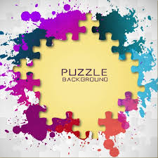 puzzle pieces and colorful paint splashes vector free download