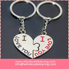 shaped key rings images Couple heart shape keyring 2 pcs pair split heart keychain key jpg