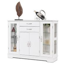glass door kitchen cabinet with drawers shop for buffet storage cabinet console cupboard w glass