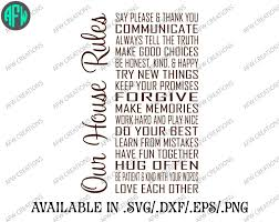 Family House Rules by Digital Cut File Our House Rules Vinyl Cutting File Svg