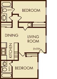 Two Bed Two Bath Apartment Salt Lake City Apartments Floor Plans Mountain Shadows