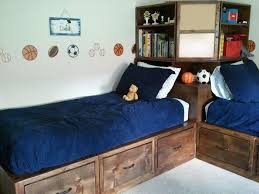 Diy Twin Bed Frame With Storage How To Build Twin Corner Beds With Storage Diy Projects For