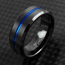 beveled ring thin blue line black tungsten ring w beveled edges wholesale