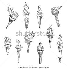 fire torch icons vector isolated burning stock vector 572696866