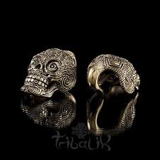 la muerte skull brass ear weights tribalik