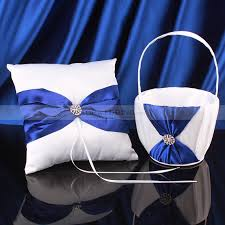 white and blue bows white satin ring pillow and flower girl basket with royal blue bow