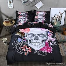 3d skull duvet cover queen size black bedding set floral skulls