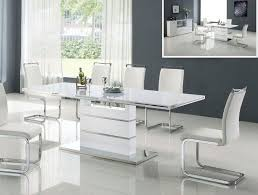 Modern White Or Black Table With Extendable Top And Pedestal Base