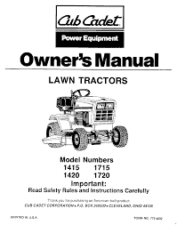 cub cadet lawn mower 1720 user guide manualsonline com