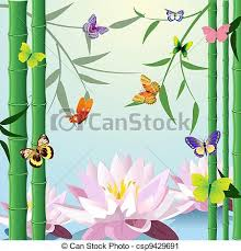 design with butterfly lotus bamboo vector clip search