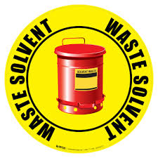 waste solvent trash can floor sign creative safety supply