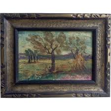 How To Paint Over Wood Paneling by Oil Painting On Wood Panel Landscape With Original Frame 1910 1930