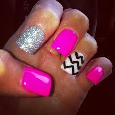 pink glitter nails chevron design nails with cross design