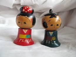 japanese kokeshi doll salt and pepper shaker set wood bobblehead