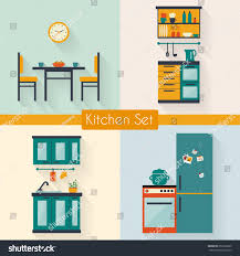 kitchen set furniture long shadows flat stock vector 253569205