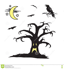 halloween scene clipart halloween spooky tree with face scene stock vector image 76911802