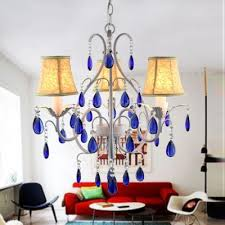 blue crystal chandelier light fashion style french country shabby chic crystal lights
