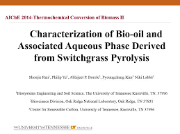 characterization of aqueous phase bio oil derived from switchgrass