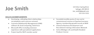 skills and accomplishments resume examples resume samples higher