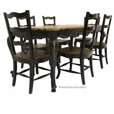French Country Outdoor Furniture by French Country Rustic Dining Table And 6 Chairs Black French