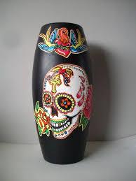 sugar skull flower vase by pookielou on deviantart