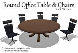 round office table and chairs second life marketplace office table chairs brown box