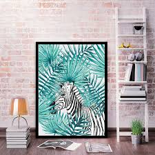 aliexpress com buy modern nordic watercolor tropical leaf deer aliexpress com buy modern nordic watercolor tropical leaf deer zebra fish canvas art print poster wall pictures for home decor wall decoration from
