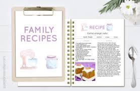 recipe template editable cook book doc template printable