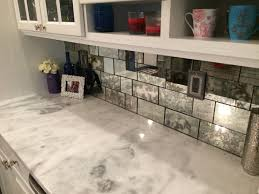 mirror backsplash in kitchen classy subway mirror backsplash pattern with white polished