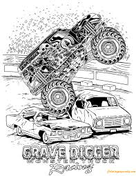 grave digger monster truck racing coloring page free coloring