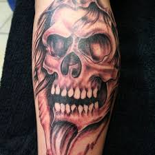 powerful skull skull sleeve on tattoochief com