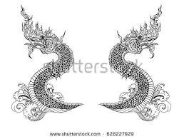 naga tattoo thailand hand drawn thai dragon on water stock vector 628227929 shutterstock